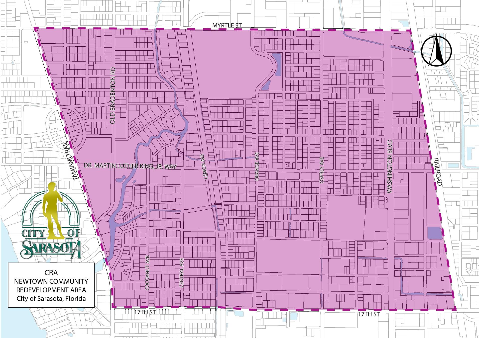 Map Showing the boundaries of the Newtown CRA which are 17th to Myrtle St and Tamiami Trail to Railroad Tracks east of 301