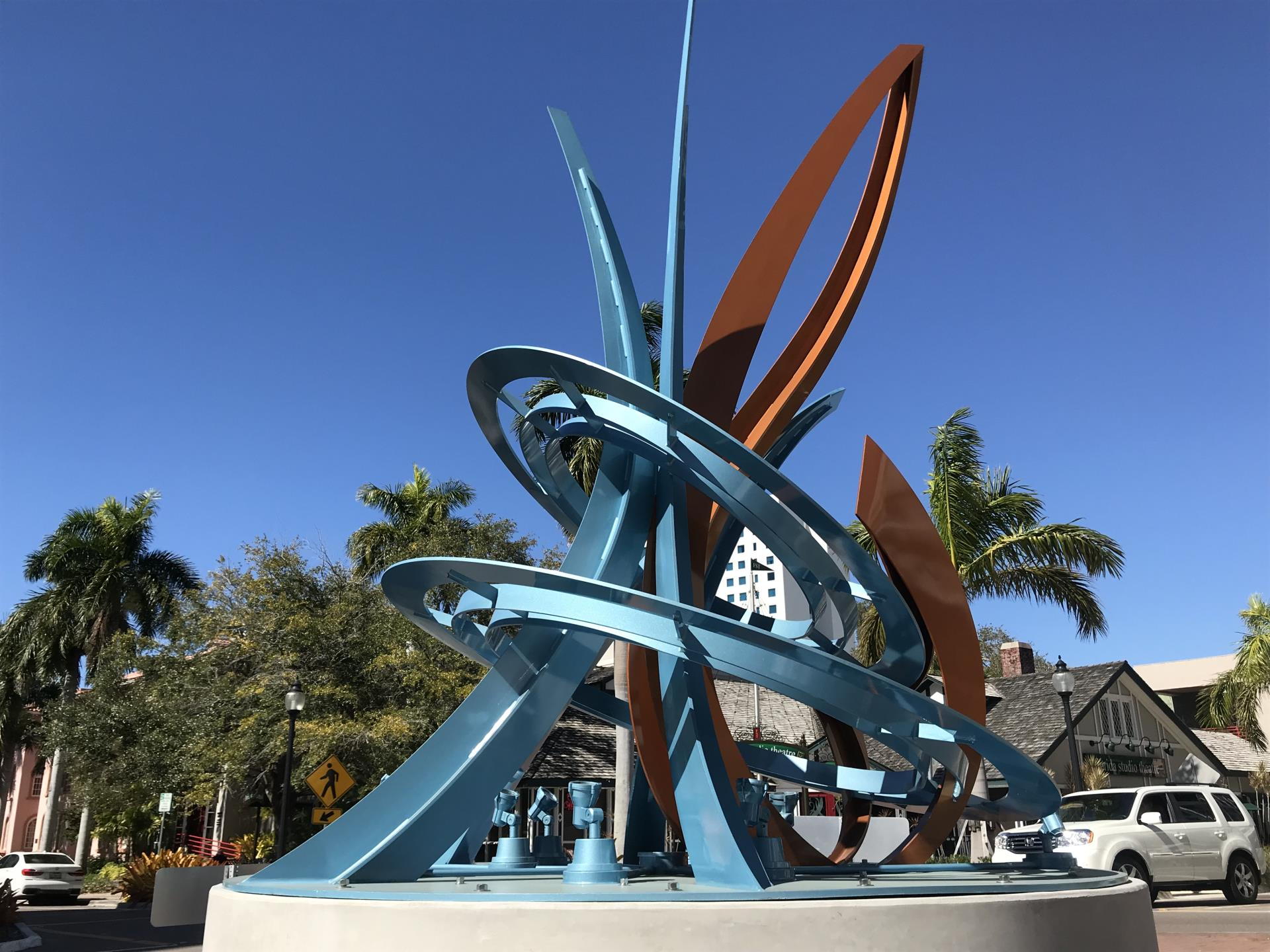 Jumping Fish sculpture at the Palm/Cocoanut avenue roundabout