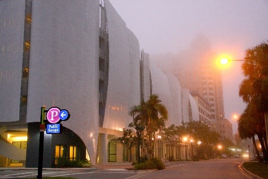 View of the Palm Garage during dusk