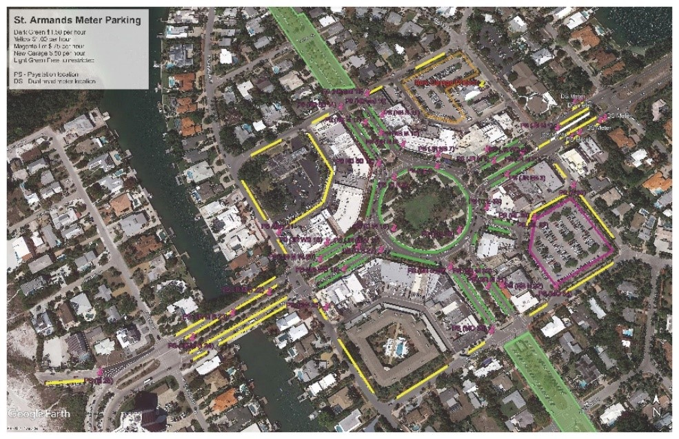 Aerial Map of St. Armands Parking Zones