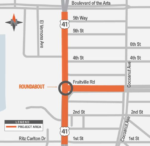 US 41 Fruitville map