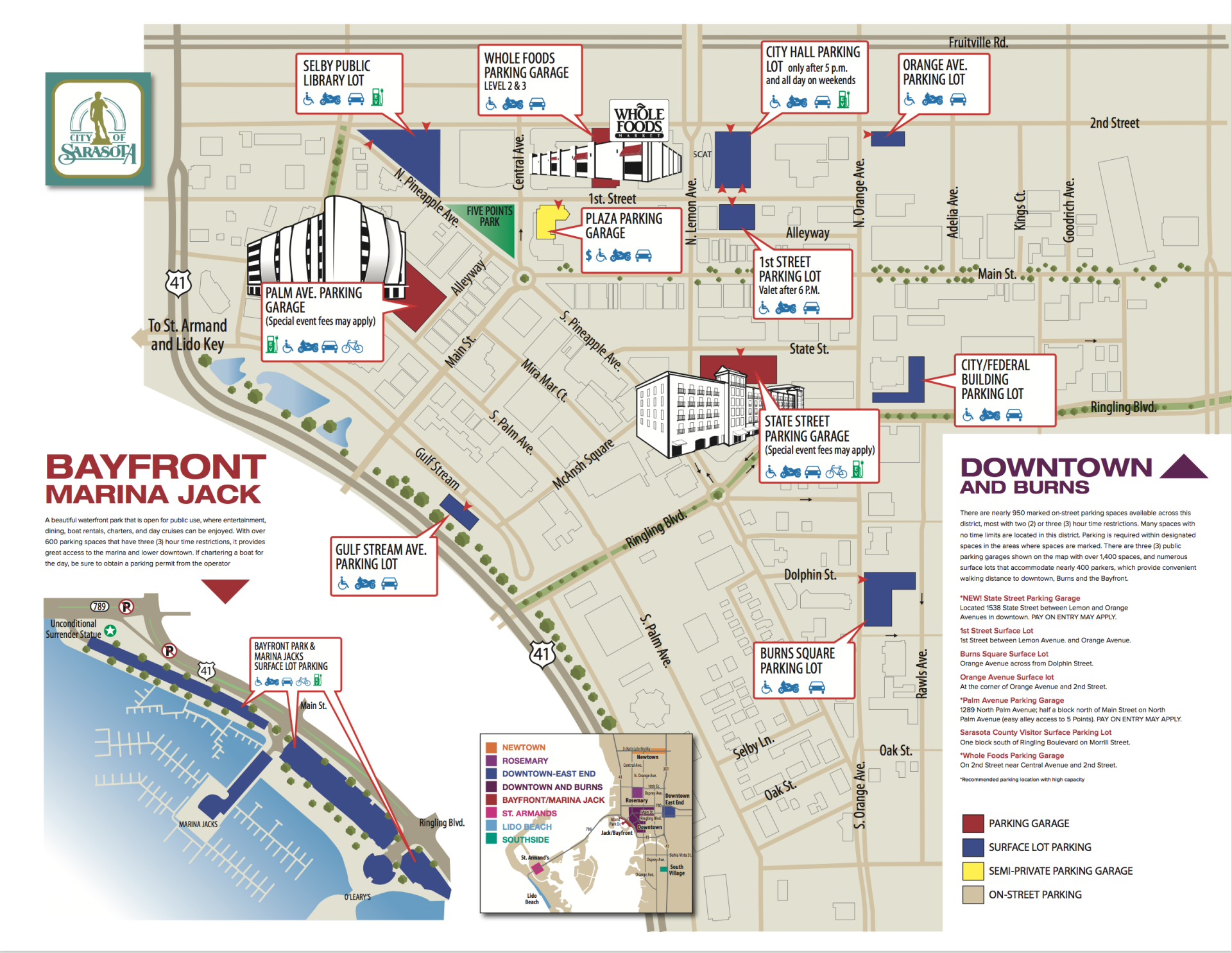 Map Of Florida Sarasota.Downtown Map City Of Sarasota