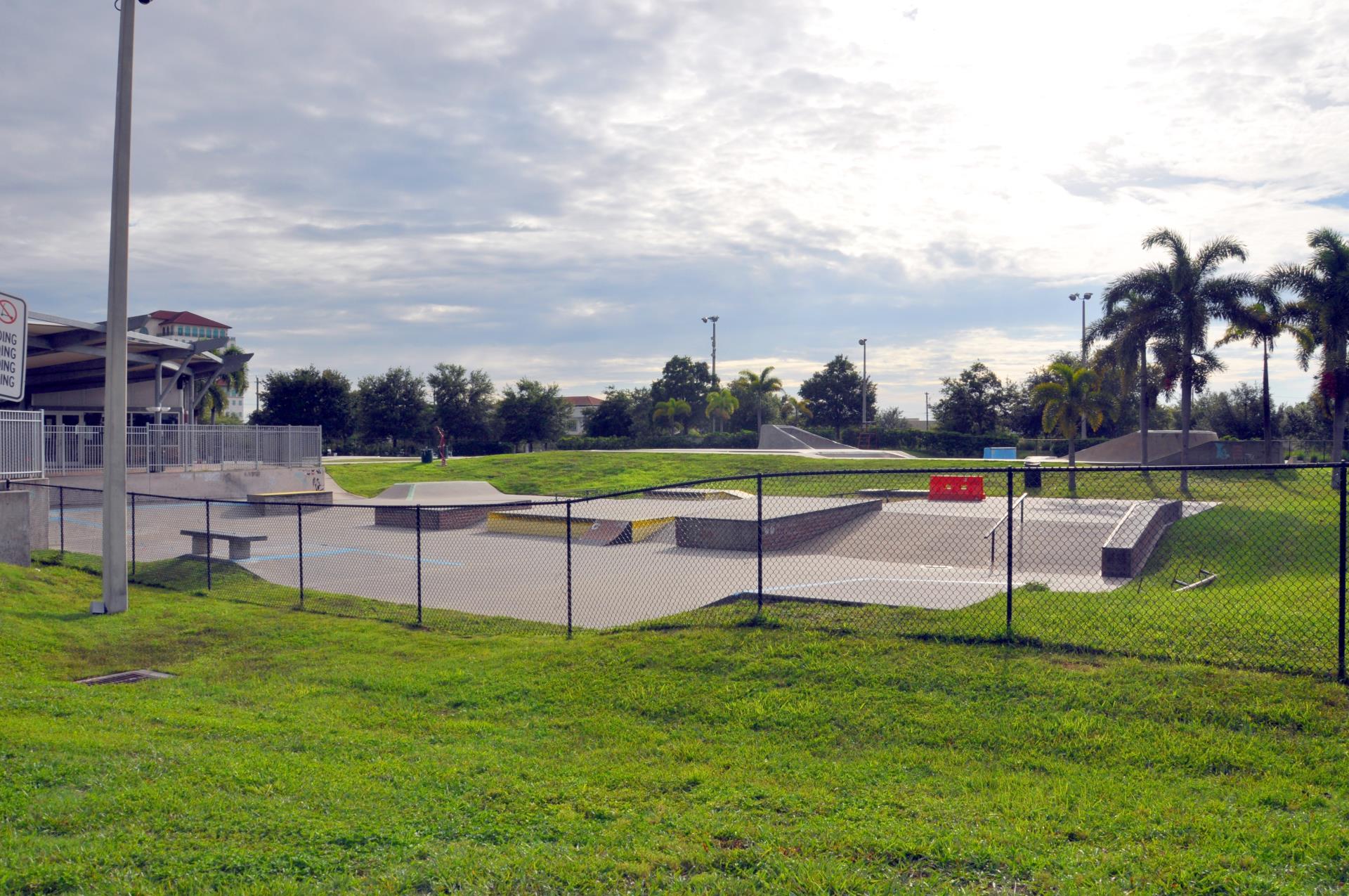 Exterior of skate park